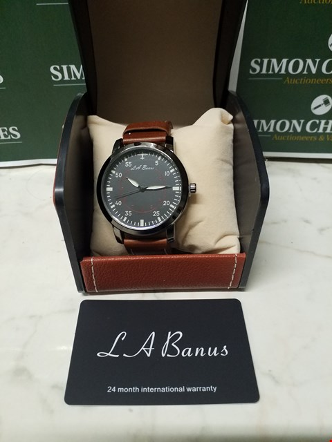 Lot 4587 L. A BANUS BLACK STAINLESS STEEL WATCH WITH BROWN LEATHER WRIST STRAP