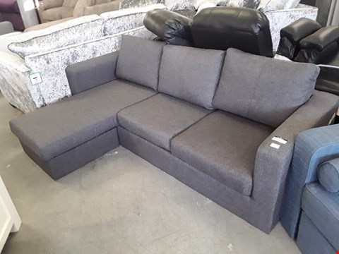 Lot 320 DESIGNER GREY WEAVE FABRIC CHAISE SOFA