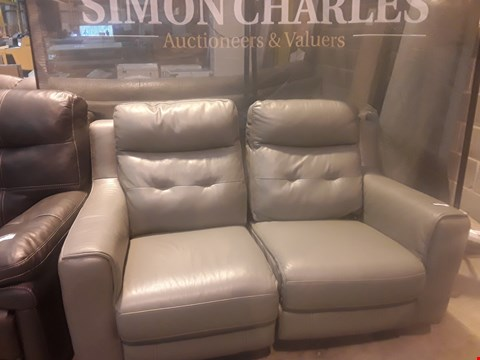 Lot 9144 DESIGNER GREY LEATHER POWER RECLINING TWO SEATER SOFA