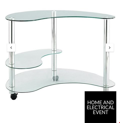 Lot 4464 BRAND NEW BOXED KIDNEY SHAPED CLEAR AND CHROME GLASS COMPUTER DESK RRP £109.00