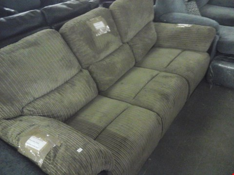 Lot 78 DESIGNER CORDED BROWN FABRIC 3 SEATER RECLINER SOFA