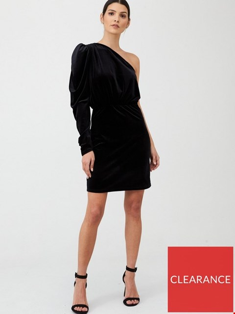 Lot 7296 BRAND NEW V BY VERY ONE SHOULDER VELVET BLACK DRESS - SIZE 16 UK