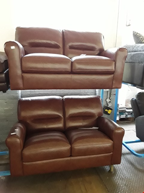 Lot 19 PAIR OF DESIGNER ANDRIA TAN LEATHER FIXED TWO SEATER SOFAS