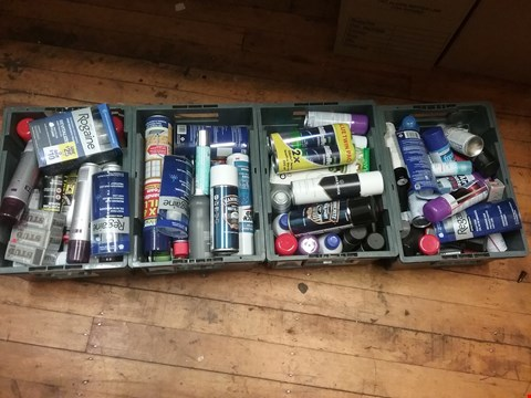 Lot 7072 LOT OF 4 BOXES OF ASSORTED AEROSOLS TO INCLUDE HAMMERITE SMOOTH WHITE METAL PAINT, FAIR FAX AND FAVOUR SUEDE AND NUBUCK PROOFER, GILLETE SERIES SENSITIVE SHAVE GEL TWIN PACK ETC