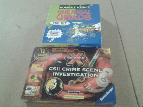 Lot 367 BOXED X SCIENCE CSI CRIME SCENE INVESTIGATION 12 AMAZING ACTIVITIES AND BOXED HORRIBLE SCIENCE CHEMICAL CHAOS THE KIT