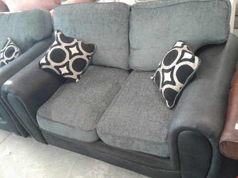 Lot 14 DESIGNER BLACK FAUX LEATHER AND CHARCOAL FABRIC 2 SEATER SOFA