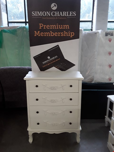 Lot 79 DESIGNER WHITE FINISH FRENCH STYLE FOUR DRAWER CHEST