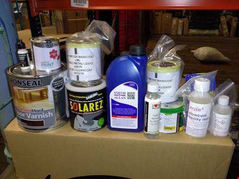 Lot 5536 LOT OF ASSORTED HOUSEHOLD DECORATING ITEMS TO INCLUDE RONSEAL VARNISH, SANDING RESIN AND RONSEAL GARDEN PAINT