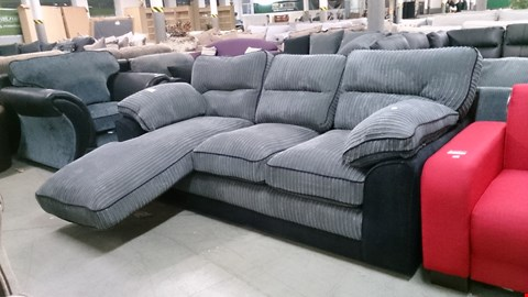 Lot 1214 DESIGNER BLACK FABRIC AND GREY CORDED FABRIC CORNER SOFA