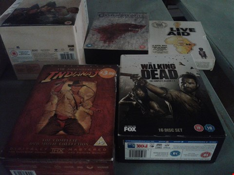 Lot 4404 4 BOXES OF ASSORTED MEDIA ITEMS TO INCLUDE THE WALKING DEAD COMPLETE SERIES 1-4  AND GAME OF THRONES DVD