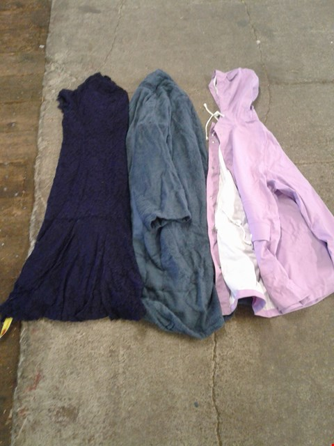 Lot 224 BOX OF APPROXIMATELY 16 CLOTHING ITEMS TO INCLUDE BLUE MAXI DRESS, LIGHT PURPLE RAINCOAT AND BLUE DRESSING GOWN - VARIOUS SIZES
