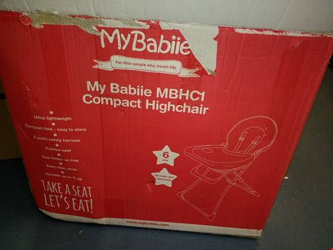 Lot 3073 MY BABIIE MBHC1 COMPACT HIGHCHAIR RRP £44.99