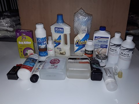 Lot 220 BOX OF ASSORTED HOMEWARE LIQUID ITEMS TO INCLUDE FLASH FLOOR CLEANER, BLACK CARPET DYE, WHITE ACRYLIC PAINT