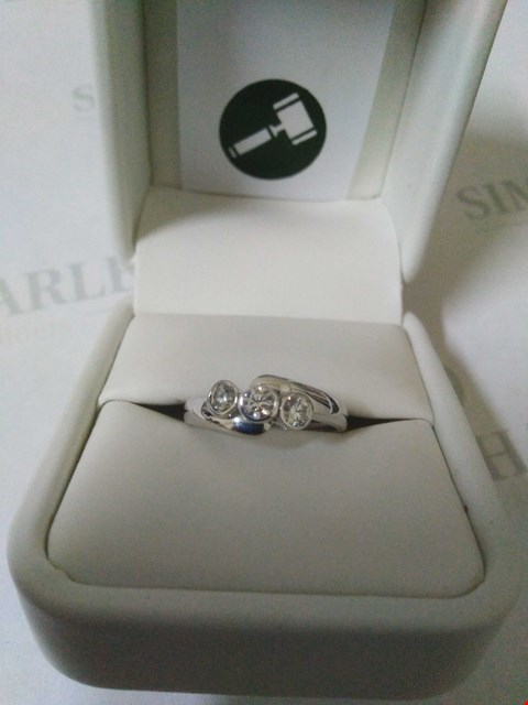 Lot 56 18CT WHITE GOLD THREE STONE RING RUBOVER SET WITH DIAMONDS WEIGHING +0.42CT RRP £1725.00