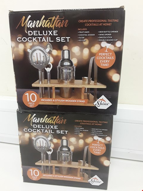 Lot 425 TWO BOXED MANHATTAN DELUXE 10 PIECE COCKTAIL SETS