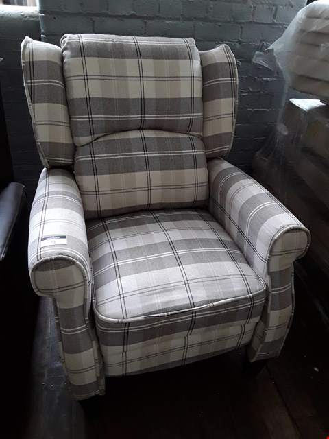 Lot 72 DESIGNER EATON BEIGE CHECKED FABRIC PUSH BACK RECLINING EASY CHAIR RRP £380