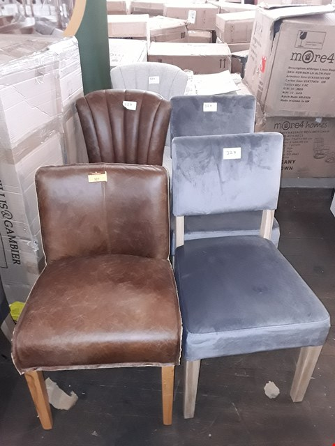 Lot 327 LOT OF FIVE ASSORTED DESIGNER CHAIRS TO INCLUDE A BROWN FAUX LEATHER SHELL BACK CHAIR, A WHITE/GREY CANVAS SHELL BACK CHAIR ETC