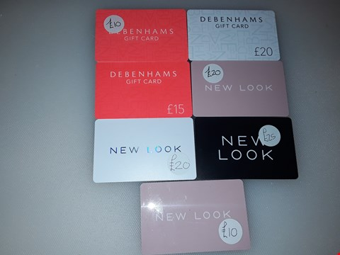 Lot 24 7 ASSORTED GIFT CARDS TO INCLUDE DEBENHAMS AND NEW LOOK TOTAL VALUE £120