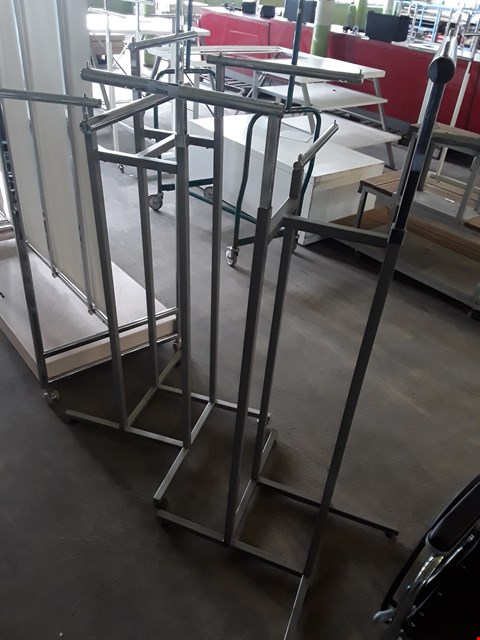 Lot 2069 TWO 4 STATION HEIGHT ADJUSTABLE GARMENT DISPLAY UNITS