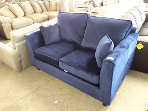 Lot 344 DESIGNER BLUE PLUSH VELVET 2 SEATER SOFA