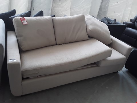 Lot 52 DESIGNER CREAM FABRIC CHAISE SOFA WITH METAL ACTION SOFA BED