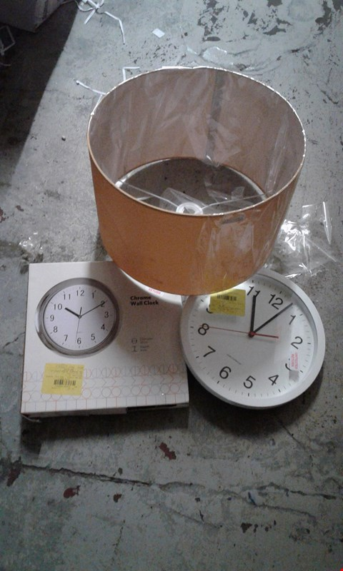 Lot 8 LOT OF 3 ITEMS TO INCLUDE CHROME WALL CLOCK, WHITE WALL CLOCK, LARGE BRONZE LAMPSHADE