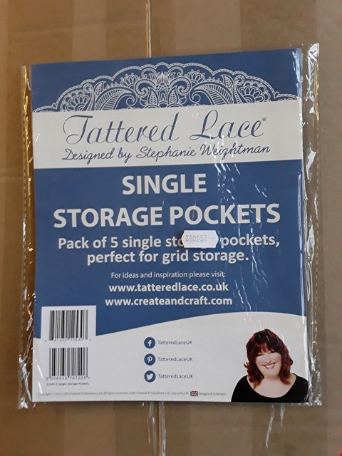 Lot 2371 APPROXIMATELY 226 BRAND NEW TATTERED LACE SINGLE STORAGE POCKETS - PACK OF 5