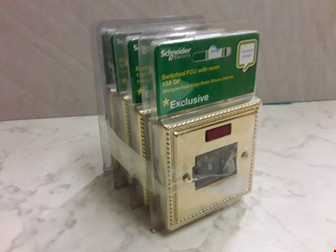 Lot 6158 LOT OF 4 SCHNEIDER SWITCHED FCU WITH NEON 13A DP - GEORGIAN ROPE EDGE BRASS