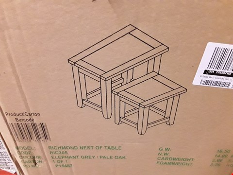 Lot 1373 RICHMOND NEST OF TABLES - GREY/OAK (1 BOX) RRP £199