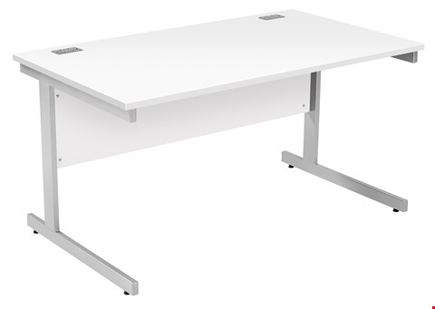Lot 9549 BRAND NEW BOXED FRACTION PLUS RECTANGULAR 140 DESK - WHITE WITH SILVER FRAME