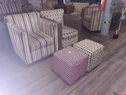 Lot 71 STRIPED DESIGN  FABRIC ARMCHAIR , CIRCLE DESIGN FABRIC ARMCHAIR AND 2 POUFFES