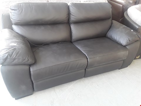 Lot 66 DESIGNER BLACK LEATHER POWER RECLINING THREE SEATER SOFA