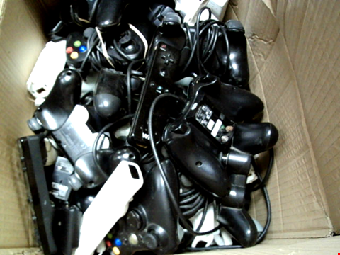 Lot 15672 BOX OF ASSORTED GAMES CONTROLLERS AND CABLES ETC