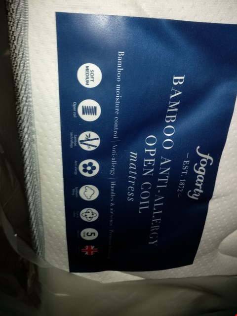 Lot 1101 QUALITY FOGARTY BAMBOO ANTI-ALLERGY OPEN COIL 3FT MATTRESS