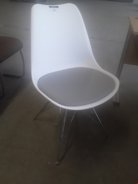 Lot 83 DESIGNER MONA WHITE/ CHROME CHAIR RRP £250