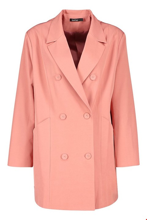 Lot 7289 BRAND NEW BOOHOO OVERSIZED PEACH BLAZER DRESS - SIZE 12 UK