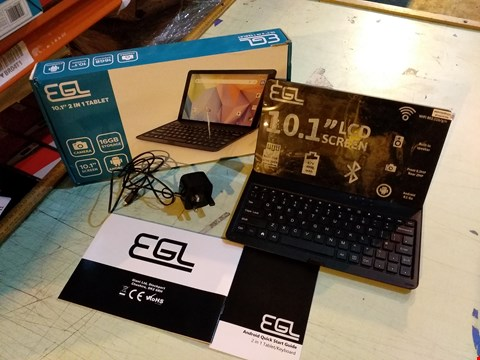 """Lot 6118 BOXED EGL 10.1"""" 1GB RAM, 16GB STORAGE ANDROID TABLET WITH KEYBOARD ACCESSORY - BLACK"""