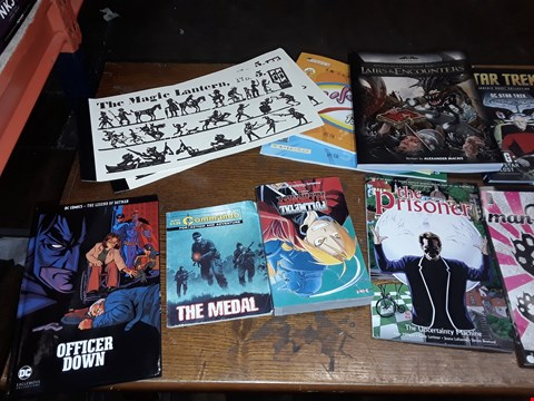 Lot 159 LOT OF APPROXIMATELY 16 ASSORTED BOOKS AND MAGAZINES TO INCLUDE COWBOYS AND ALIENS, CURSECOF STRAHD AND OFFICER DOWN ECT