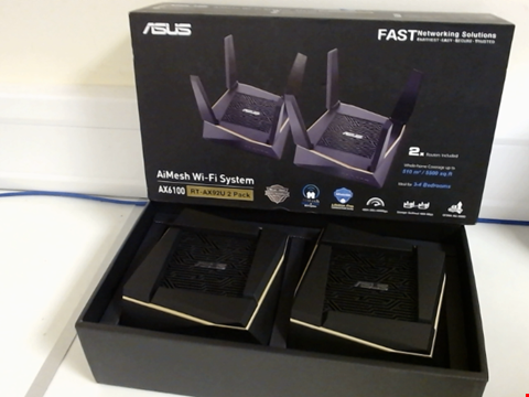 Lot 15263 ASUS RT-AX92U AX6100 WI-FI 6 TRI-BAND WHOLE HOME MESH WI-FI SYSTEM FOR LARGE & MULTI-STORY HOMES, FLEXIBLE SSID SETTING, WIRED INTER-ROUTER CONNECTIONS, AIPROTECTION, TREND MICRO SECURITY, PACK OF 2