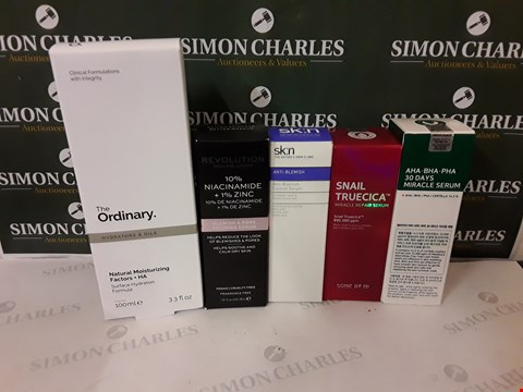 Lot 67 LOT OF 5 ASSORTED COSMETIC ITEMS TO INCLUDE SK:N ANTI-BLEMISH, REVOLUTION BLEMISH&PORE REFINING SERUM, THE ORDINARY SURFACE HYDRATION FORMULA ETC