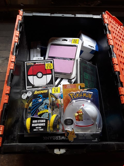 Lot 11158 BOX OF ASSORTED TOYS, MOBILE AND GAMING ITEMS TO INCLUDE POKEMON GROWLITHE + PREMIER BALL, BATMAN KIDS STEREO HEADPHONES AND NINTENDO 3DS COVER PLATES
