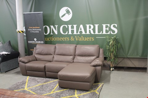 Lot 10013 DESIGNER BROWN ITALIAN LEATHER CHAISE CORNER SOFA WITH CONTRAST DETAIL STITCHING