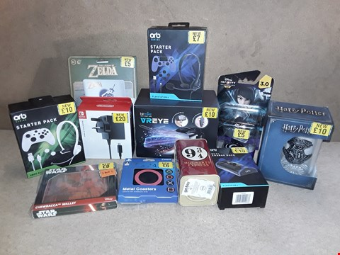 Lot 2197 BOX OF APPROXIMATELY 30 ASSORTED ITEMS TO INCLUDE ORB GAMING STARTER PACKS, BITMORE VR EYE, NINTENDO SWITCH AC ADAPTER