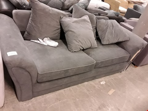 Lot 7030 DESIGNER GREY FABRIC THREE SEATER SOFA WITH SCATTER CUSHIONS