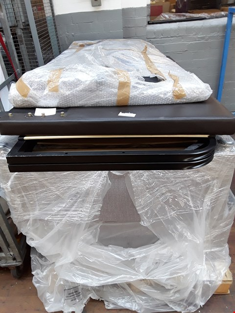 Lot 7176 PALLET OF ASSORTED BED PARTS INCLUDES GREY FABRIC DIVAN BASE - EACH SECTION MEASURES 100X150CM