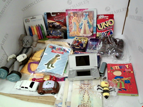 "Lot 3066 LOT OF ASSORTED TOYS & COLLECTIBLES TO INCLUDE: NINTENDO DS LITE, ""UNO"" CARD GAME, PIXAR ""CARS"" MINIATURE MODEL"