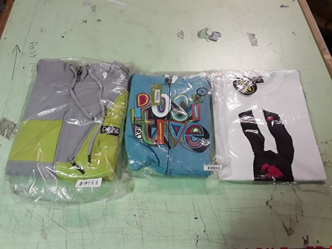 Lot 1777 LOT OF APPROXIMATELY 10 ASSORTED DESIGNER CLOTHING ITEMS TO INCLUDE A DAKINE GREY/YELLOW HOODIE L, A POSITIVE PRINT BLUE KIDS HOODIE, A VON ZIPPER SUIT PRINT WHITE T-SHIRT L ETC
