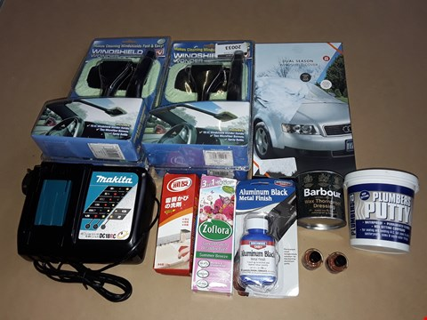 Lot 2 LOT OF APPROXIMATELY 30 ASSORTED HOMEWARE ITEMS TO INCLUDE MAKITA CHARGING UNIT, WINDSHIELD WONDERS AND BARBOUR WAX THORNPROOF DRESSING