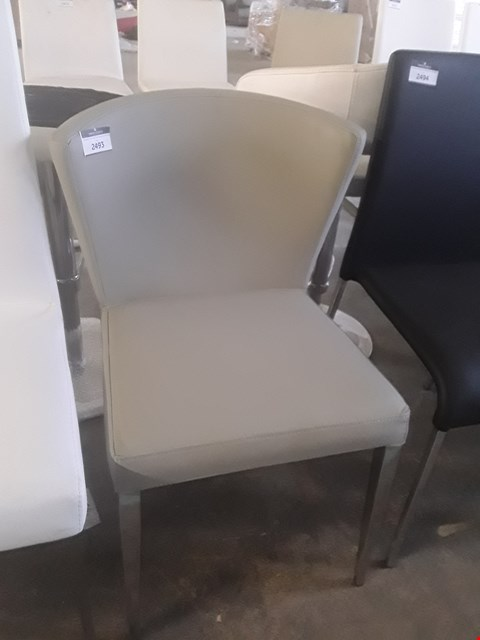 Lot 327 DESIGNER TAUPE FAUX LEATHER ROUND-BACK CHAIR