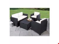 Lot 338 BOXED ALLIBERT VICTORIA BLACK AND WHITE PATIO SET WITH CUSHION BOX TABLE (1 BOX)